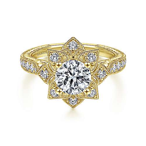 Gabriel - 14k Yellow Gold Round Free Form Engagement Ring