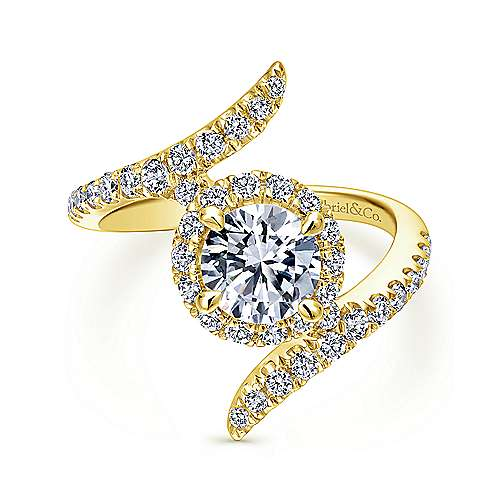 Gabriel - 14k Yellow Gold Round Halo Engagement Ring