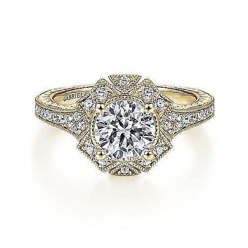 14k Yellow Gold Round Halo Engagement Ring