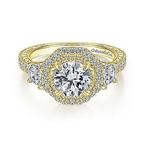 Gabriel - 14k Yellow Gold Round Halo Engagement Ring