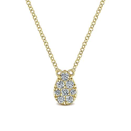 14k Yellow Gold Round Pave Diamond Fashion Necklace