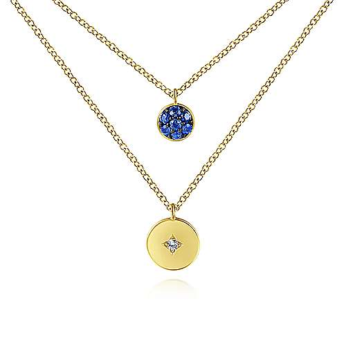 14k Yellow Gold Round Sapphire Pave and Diamond Necklace