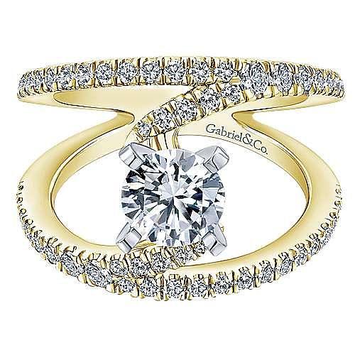Gabriel - 14k Yellow Gold Round Split Shank Diamond Engagement Ring