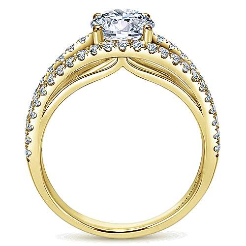 14k Yellow Gold Round Split Shank Engagement Ring angle 2