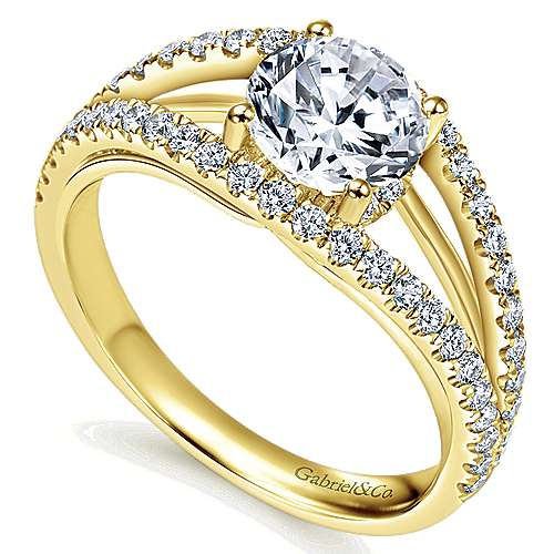 14k Yellow Gold Round Split Shank Engagement Ring angle 3