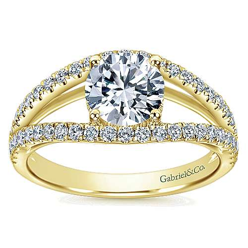 14k Yellow Gold Round Split Shank Engagement Ring angle 5