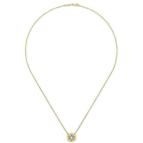 14k Yellow Gold Round Star of David Cutout Diamond Necklace