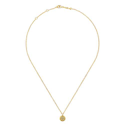 14k Yellow Gold Round Star of David Diamond Necklace