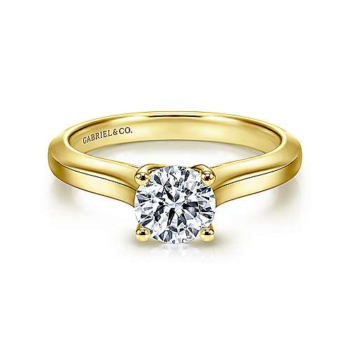14k Yellow Gold Round Straight Engagement Ring angle 1