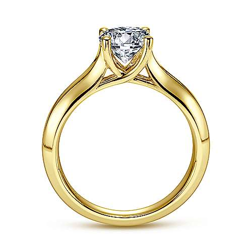 14k Yellow Gold Round Straight Engagement Ring angle 2