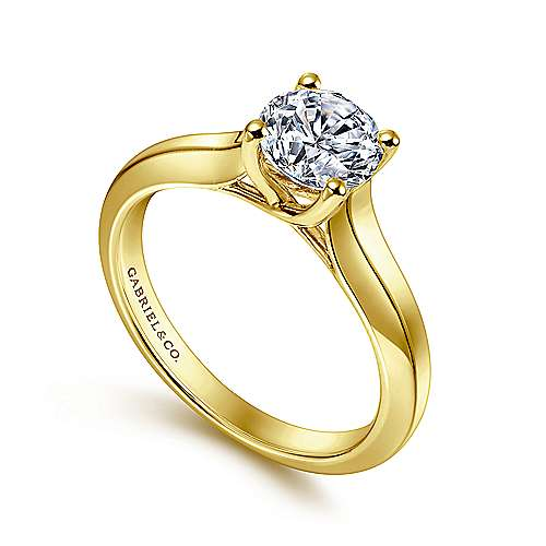 14k Yellow Gold Round Straight Engagement Ring angle 3