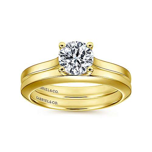 14k Yellow Gold Round Straight Engagement Ring angle 4