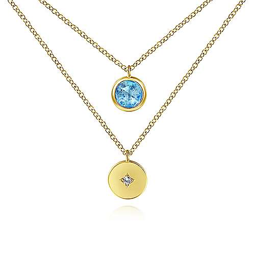 Gabriel - 14k Yellow Gold Round Swiss Blue Topaz & Diamond Fashion Necklace