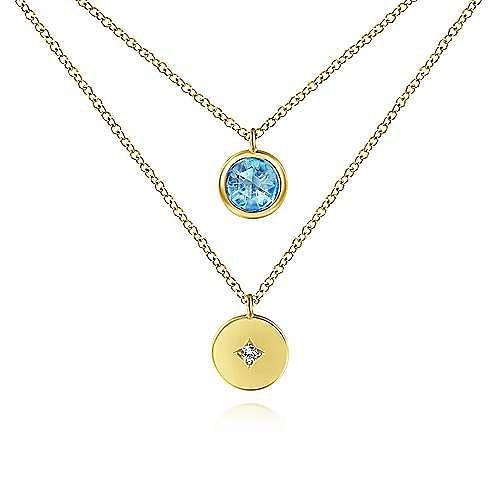 14k Yellow Gold Round Swiss Blue Topaz Fashion Necklace