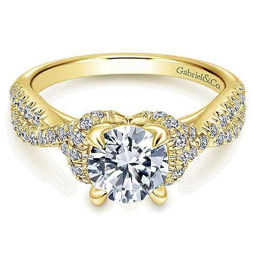 Gabriel - 14k Yellow Gold Round Twisted Engagement Ring