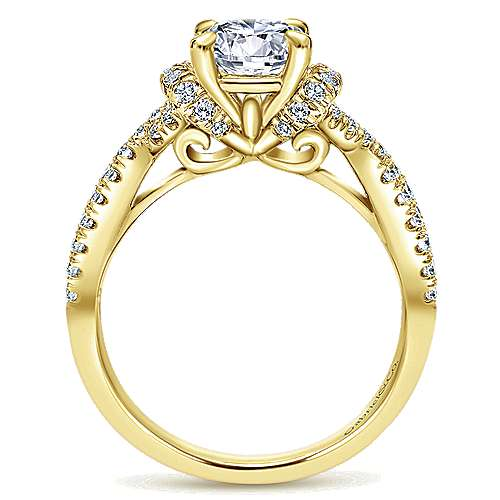 14k Yellow Gold Round Twisted Engagement Ring angle 2