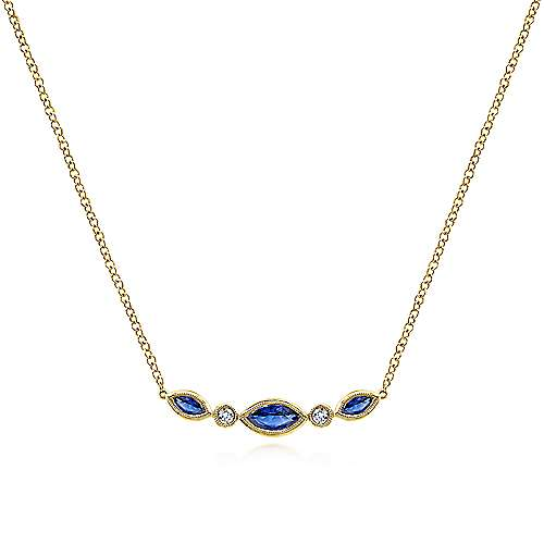 14k Yellow Gold Sapphire & Diamond Curved Bar Necklace