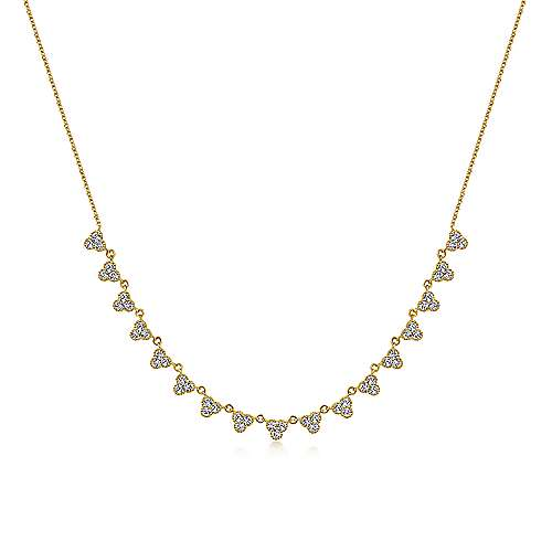 Gabriel - 14k Yellow Gold Scalloped Diamond Choker Necklace