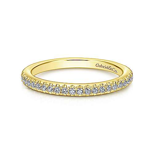 Gabriel - 14k Yellow Gold Scalloped Diamond Stackable Ring