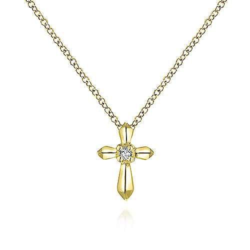 Gabriel - 14k Yellow Gold Sculpted Diamond Cross Necklace