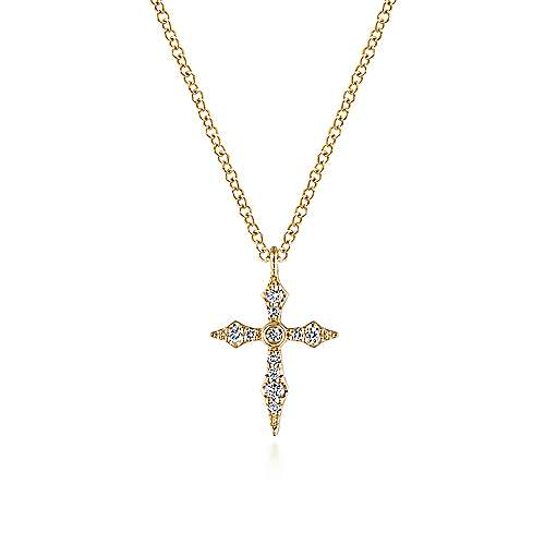 Gabriel - 14k Yellow Gold Sculpted Diamond Cross Necklace