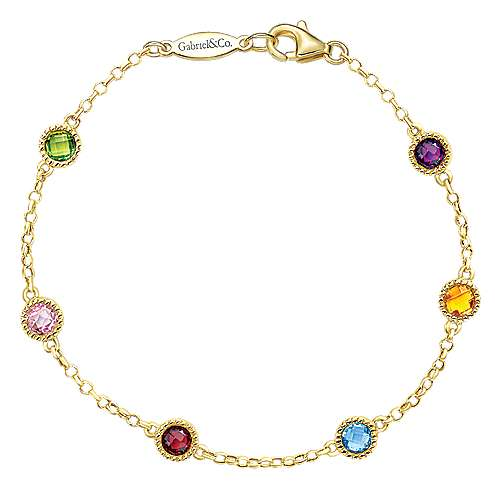14k Yellow Gold Secret Garden Chain Bracelet angle 1