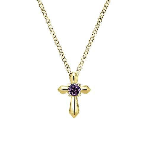Gabriel - 14k Yellow Gold Secret Garden Cross Necklace