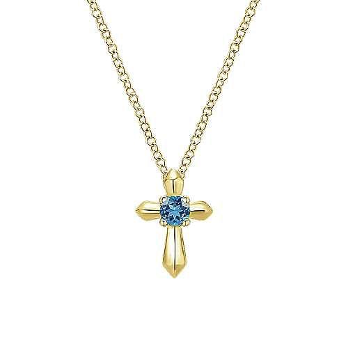 14k Yellow Gold Secret Garden Cross Necklace angle 1