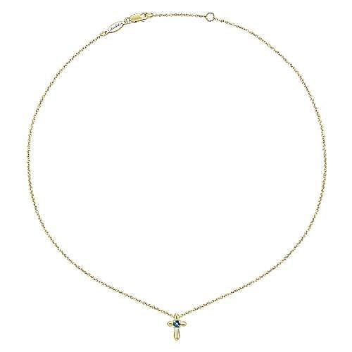 14k Yellow Gold Secret Garden Cross Necklace angle 2