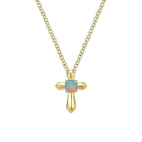 14k Yellow Gold Secret Garden Cross Necklace angle 1