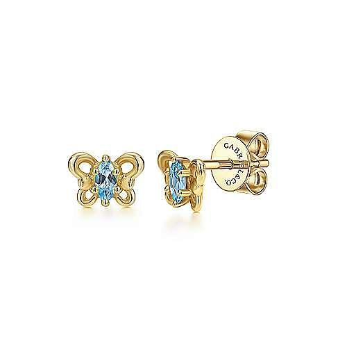14k Yellow Gold Secret Garden Stud Earrings angle 1