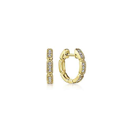 14k Yellow Gold Segmented 10mm Diamond Huggie Earrings