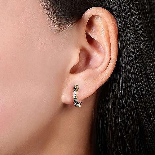 14k Yellow Gold Segmented 10mm Diamond Huggie Earrings