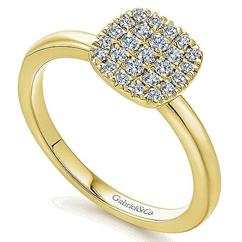 14k Yellow Gold Silk Classic Ladies' Ring angle 3