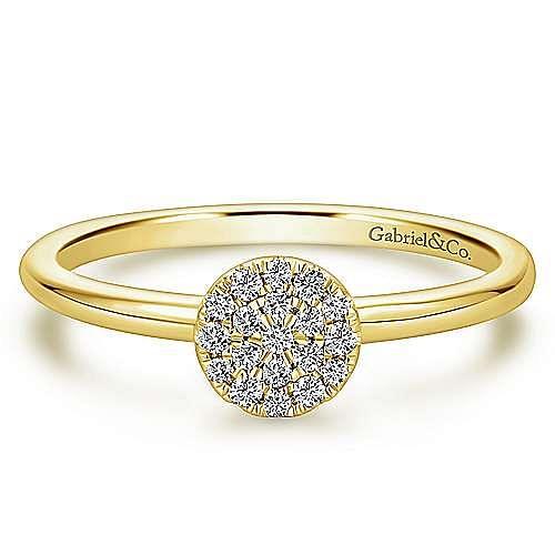 14k Yellow Gold Silk Fashion Ladies' Ring angle 1