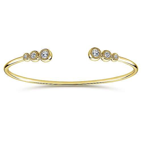Gabriel - 14k Yellow Gold Six Diamond Bangle