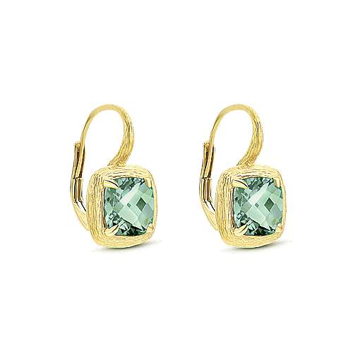 14k Yellow Gold Souviens Drop Earrings angle 2