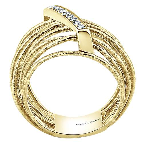 14k Yellow Gold Souviens Wide Band Ladies' Ring angle 2