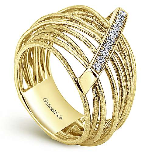 14k Yellow Gold Souviens Wide Band Ladies' Ring angle 3