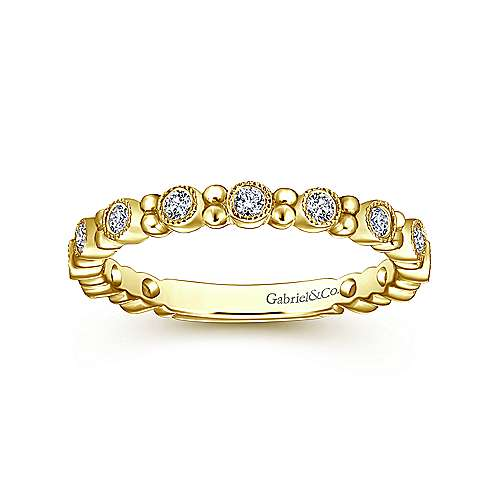 14k Yellow Gold Stackable Diamond Ring with Bead Spacers