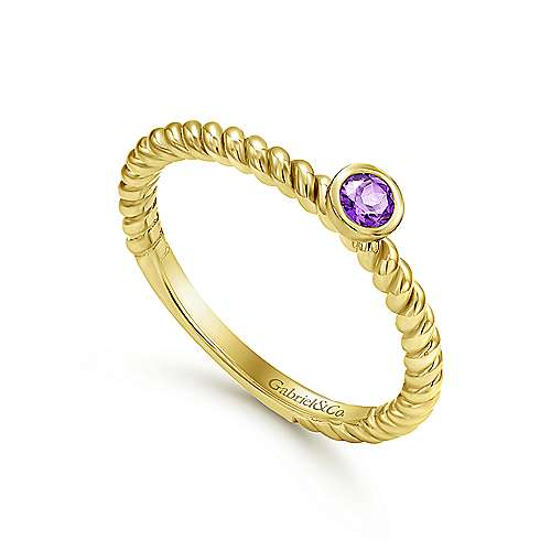 14k Yellow Gold Stackable Fashion Ladies' Ring angle 3