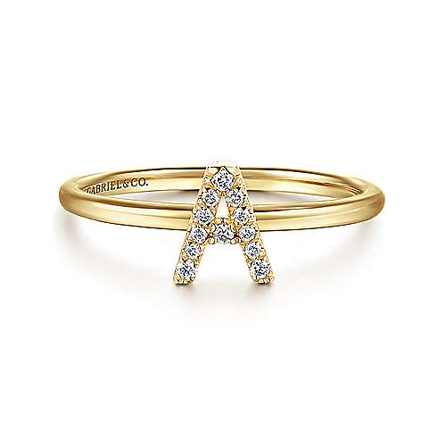 14k Yellow Gold Stackable Initial Ladies Ring