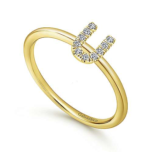 14k Yellow Gold Stackable Initial Ladies' Ring angle 3