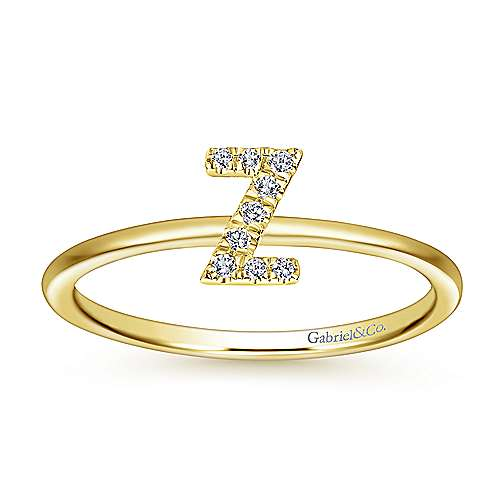 14k Yellow Gold Stackable Initial Ladies' Ring angle 4