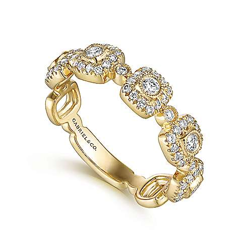 14k Yellow Gold Stackable Ladies' Ring angle 3