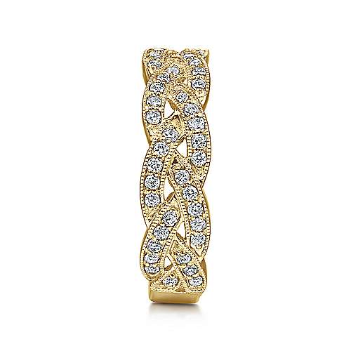 14k Yellow Gold Stackable Ladies' Ring angle 4