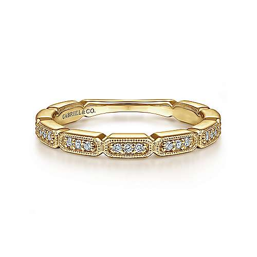 Gabriel - 14k Yellow Gold Stackable Tri Diamond Ladies Ring