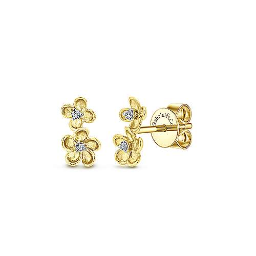 14k Yellow Gold Stacked Flower Diamond Stud Earrings