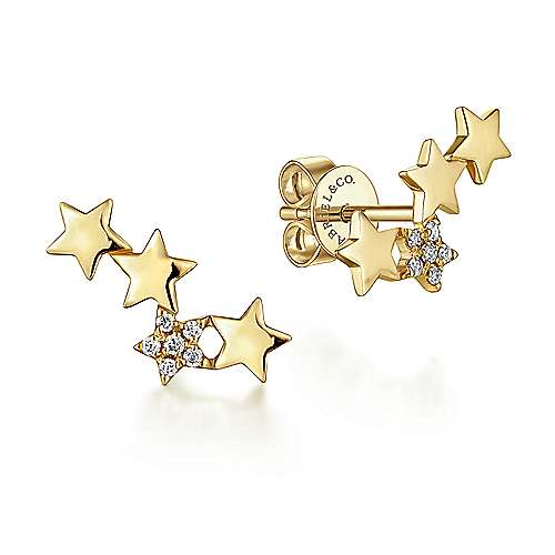 Gabriel - 14k Yellow Gold Star Shaped Pave Diamond Stud Earrings