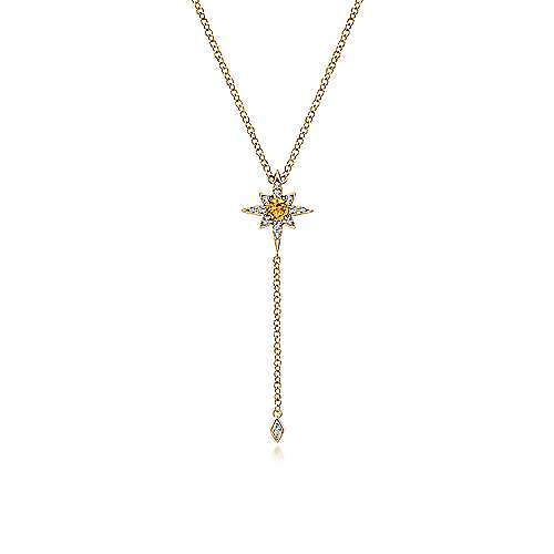 14k Yellow Gold Starlis Y Knots Necklace angle 1